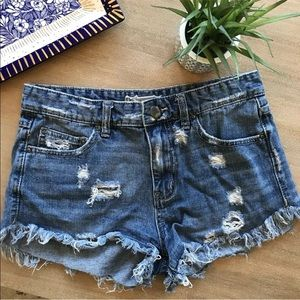 Free people light wash cut off jean shorts